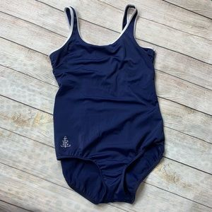 LANDS END | navy white trim one piece swimsuit 8